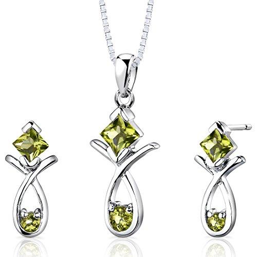 Peridot Pendant Earrings Necklace Sterling Silver Rhodium Nickel Finish Multiple Shape 2.00 ()