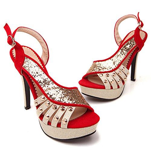 Sandales TAOFFEN Bride 13 Femmes Red Boucle AYfRwq