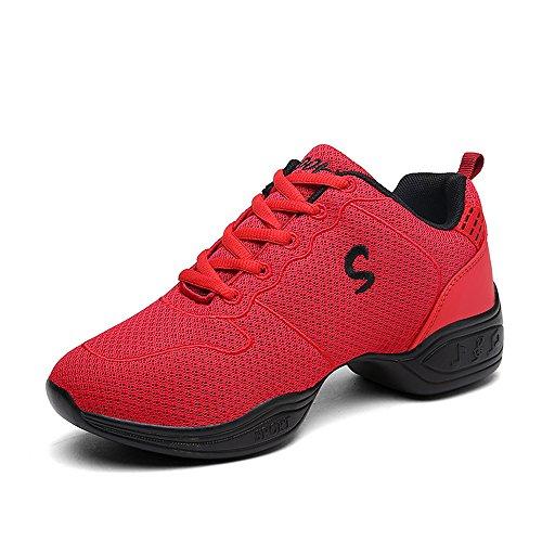 Yuanli Frauen Mesh Ballroom Tanzschuhe Leichte Jazz Schuhe rot