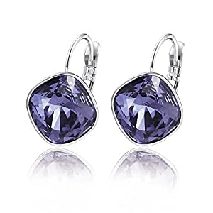 Xuping Sparkly Thanksgiving Hoop Earrings Crystals from Swarovski Women Girls Jewelry Halloween Gifts (Tanzanite)