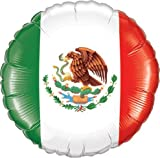 LoonBallon Mexican Flag Balloon, Standard Foil Balloon, 5 Pieces