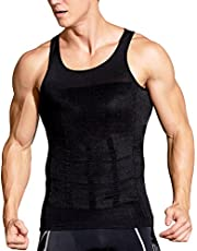 Hoter Men's Compression Shirt to Hide Gynecomastia Moobs Chest Slimming Body Shaper Undershirt