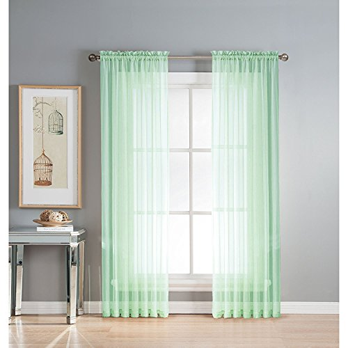 (Luxury Discounts 2 Piece Solid Elegant Sheer Curtains Fully Stitched Panels Window Treatment Drape (54