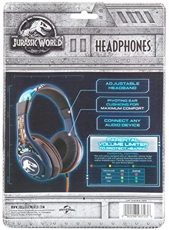 Jurassic World 2 Kids Headphones, Adjustable Headband, Stereo Sound, 3.5Mm Jack, Wired Headphones for Kids, Tangle-Free, Volume Control, Childrens Headphones Over Ear for School Home, Travel 5178oGJP0YL