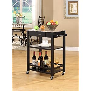 King's Brand Faux Marble with Wood Kitchen Buffet Serving Cart, Black Finish