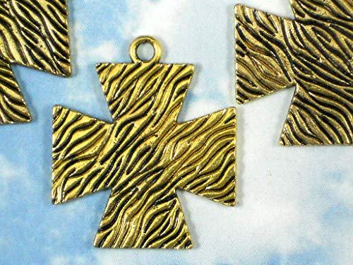 Pendant Jewelry Making 3 Maltese Cross Pendants Tree Bark Textured 39mm Gold Tone Large - Cross Tone Gold Maltese