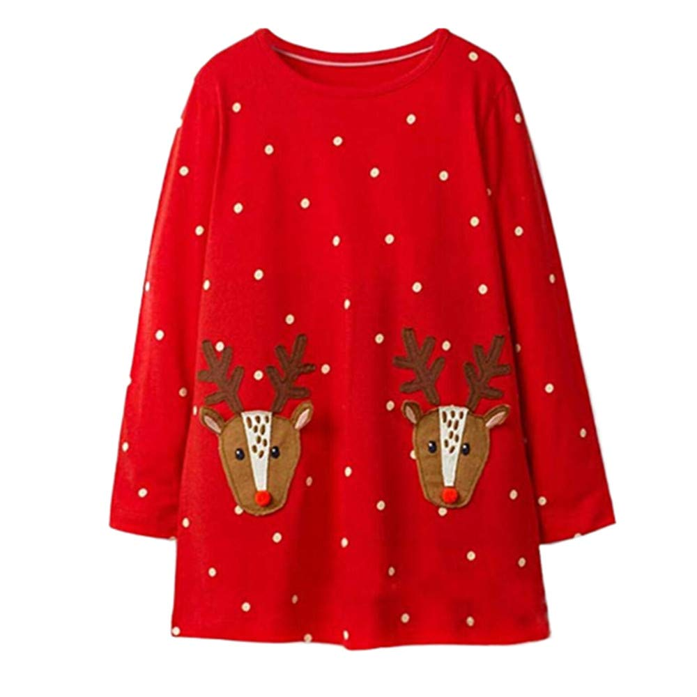KONFA Toddler Baby Girls Christmas Deer Stripes Print Dress, for 1-5 Years, Little Princess Long Sleeve Skirt Clothes KONFA_Dress