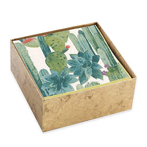 Caspari Culiko Cactus Print 3-Ply Paper Cocktail/Beverage Napkins (Designed by Pierre Frey) — Set of 30 in Gold Box by Caspari