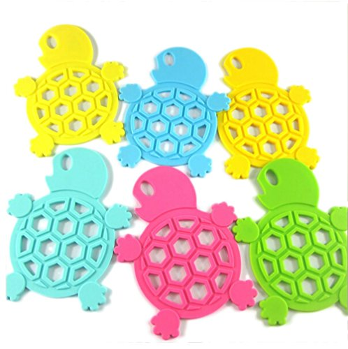 Nasis Thick Super Cute Turtle Form Hollowed Silicone Hot Pad/ Pot Holder Set of 5 Multicolored BYG0006