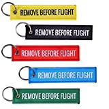 Tomcrazy MULTI COLOR 5 Pack Remove Before Flight Double sided Embroidered Fabric Keychain Ring Key Chain Aviation ATV UTV Motorcycle Pilot Crew Tag Lock