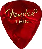 Fender 351 Shape Thin Classic Celluloid Picks, 12-Pack, Red Moto for electric guitar, acoustic guitar, mandolin, and bass