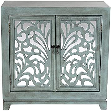 Amazon Com Heather Ann Creations 2 Door Accent Cabinet Console With Mirror Backed Carved Grille And Center Shelf 32 X 32 Blue Furniture Decor