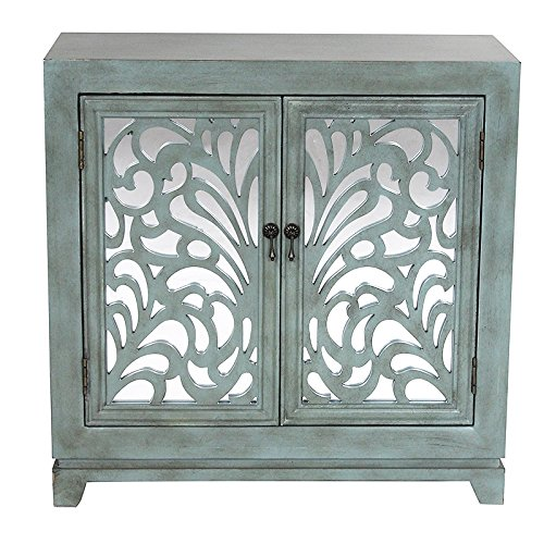 Heather Ann Creations 2 Door Accent Cabinet/Console with Mirror Backed Carved Grille and Center Shelf, 32
