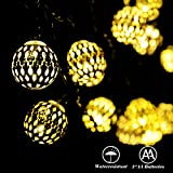 Battery Operated String Lights with Timer - RECESKY 40 LED 22.5ft Globe Lantern Decor Lighting for Outdoor Indoor Garden House Home Party Xmas Wreath Garland Christmas Tree Decorations - Warm White