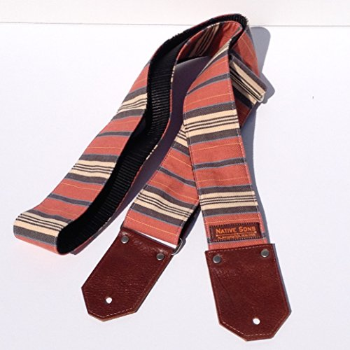 Native Sons 'The Henry' Guitar strap - Rust Red, Navy Blue, and cream stripes, 100% Cotton twill weave fabric With a comfortable Black Nylon Webbing, Cognac Leather Ends 2