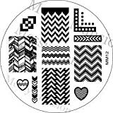 MESSY MANSION MM12 Nail Art Stamping Plate - Chevron Themed
