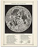 Antique Map of the Moon - 11x14 Unframed Art Print - Great Gift for Space Lovers and Astronomers