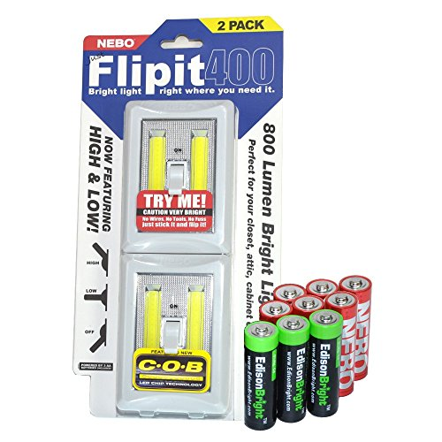 Nebo Flipit 6699 400 Lumen Upgrade COB LED Magnetic Room/Closet/shed Light 2 Pack with 3 X EdisonBright AA Alkaline Batteries Bundle