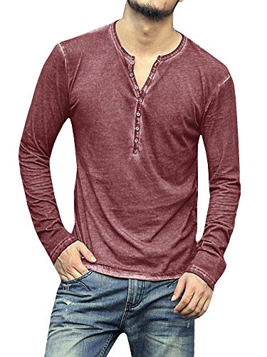 Pengfei Mens Long Sleeve Shirts Henley Slim Fit Lightweight V Neck Casual Cotton Basic T Shirts Wine Red