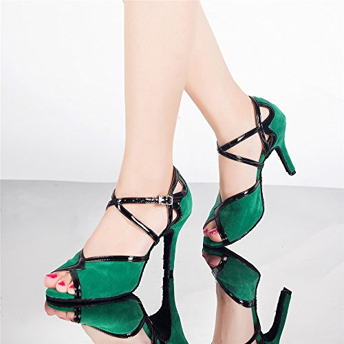 Señoras Zapatos De Baile Zapatos De Baile Latino Sólo Verde de 5 cm.