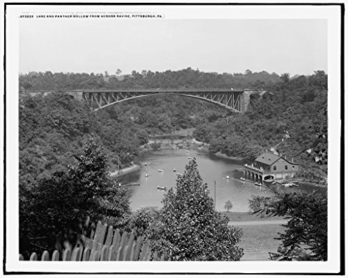 Vintography 8 x 10 Ready to Frame Pro Photo of Lake and Panther Hollow from Across Ravine Pittsburgh Pa 1910 Detriot Publishing 23a