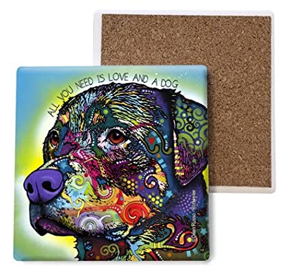 SJT ENTERPRISES INC Rottweiler 4-inch 4-Pack Features The Artwork of Dean Russo All You Need is Love and a Dog Absorbent Stone Coasters SJT07043