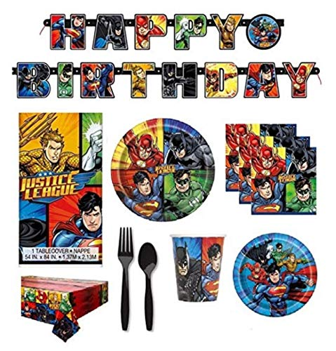 FAKKOS Design DC Comics Justice League Superheros Birthday Party Supplies Pack Bundle Serves 16: Large Plates, Small Plates, Cups, Napkins, Banner, Table Cover & Premium Plastic Cutlery