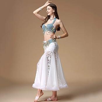 Mujeres Belly Dance Performance Traje Bra Correa Y Falda Belly ...