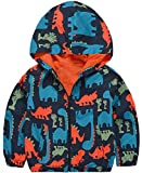 KISBINI Big Boy's Cartoon Dinosaur Print Zip Jacket Hooded Casual Raincoat 7T