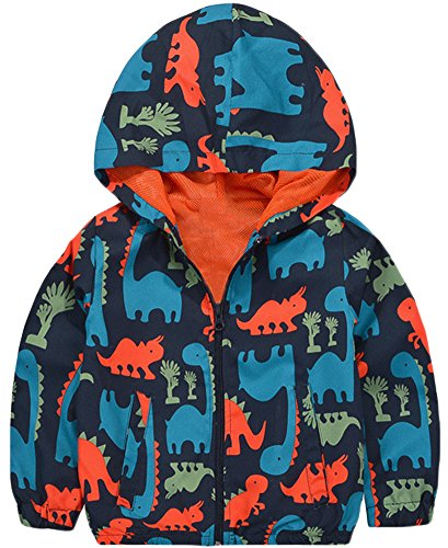 - KISBINI Boy's Cartoon Dinosaur Print Zip Jacket Hooded Outdoor Windbreaker 4T