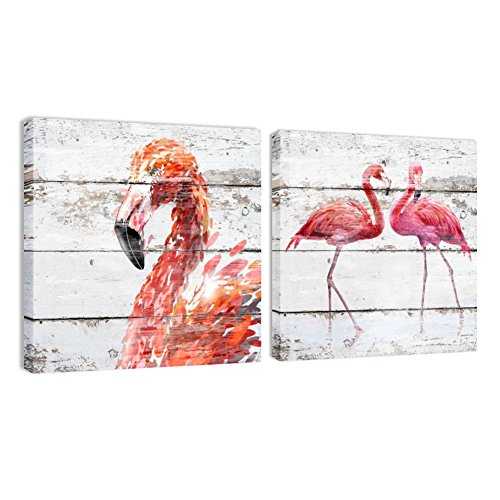 K-Road Flamingo Canvas Wall Art Painting Animal Picture Frame Bathroom Poster Vintage Room Decor (12