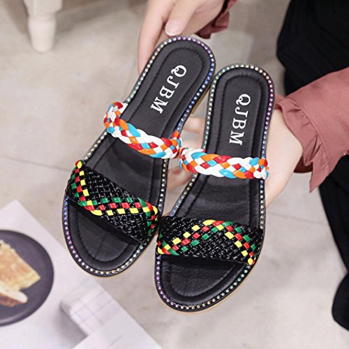 Womens Sandals ,Clode® [2017 Fashion] Ladies Girls Peep Toe Flat Slipper Sandals Summer Beach Bathroom Shoes for Indoor,Outdoor Black
