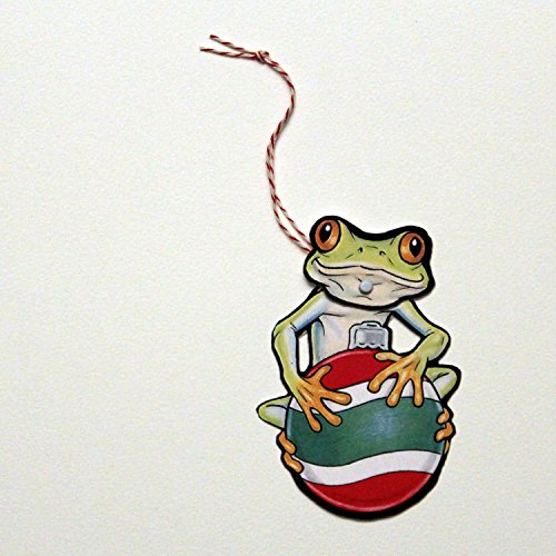 Tree Frog Ornaments Christmas (Set of 3 Tree Frog Jointed Gift Tags or Christmas Ornaments)