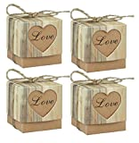 123Arts 100 pcs Candy Boxes Love Rustic Kraft Bonbonniere With Burlap Jute Shabby Chic Vintage Twine Wedding Favor Imitation Bark