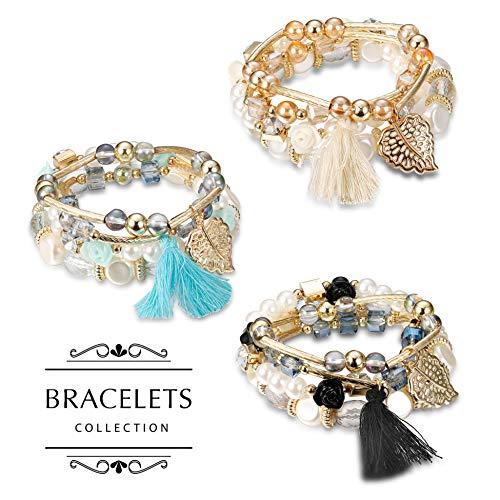 Finrezio 3 Sets Bohemian Beaded Bracelets Women Multilayer Stretch Stackable Bracelet Set Multicolor Jewelry