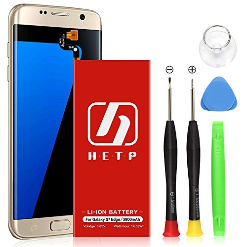 Galaxy S7 Edge Battery UPGRADED HETP 3800mAh Li-ion Replacement Battery EB-BG935ABE for Samsung Galaxy S7 Edge G935V G935P G935A G935F G935T G935R4 with Free Screwdriver Tool Kit-18 Month Warranty