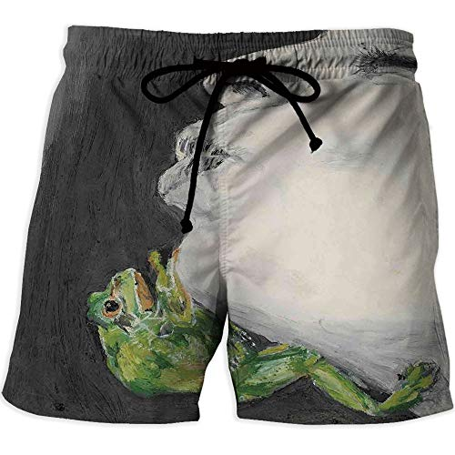 Men's Lightweight Workout Running,Country DecorQuick-Drying Swim Trunks Board Shorts with PocketMod Drawing of a Lady Kissing The Frog Prince Soul Mates Love Boho Animal -