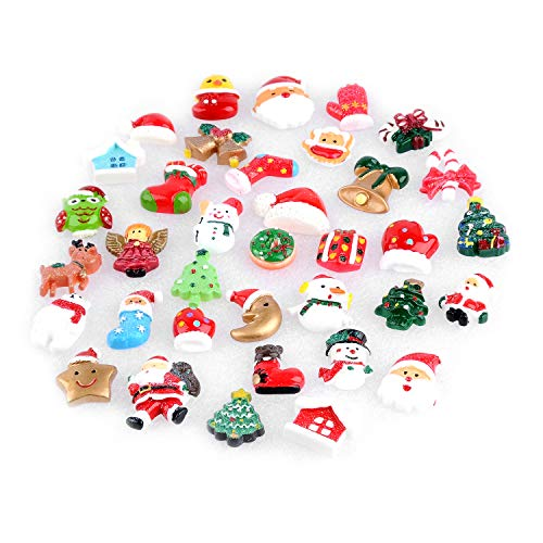 YUEAON 36-Pack Christmas Resin Flatback Charms Slime Cabochons for DIY Crafts, Scrapbooking Ornament, Hair Clips pins