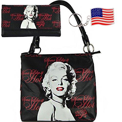 "(*key-b5-2)""licensed"" Marilyn Monroe Tote Bag And Wallet Set-mm23-blk-set"