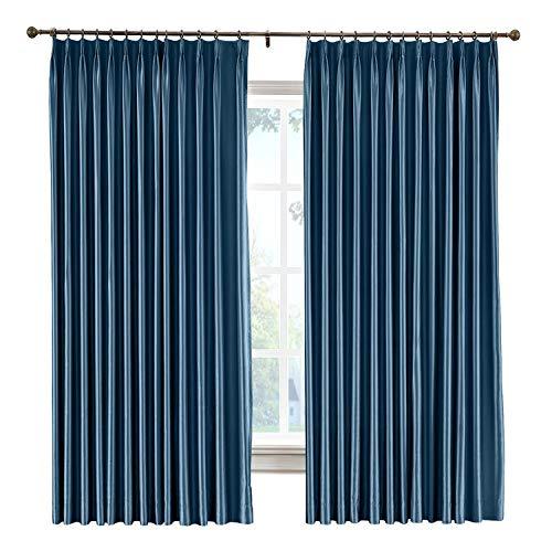 (cololeaf Pinch Pleat Curtains Anti-bacteria Luxury Faux Dupioni Silk Window Drapery for Room Darkening Light Reducing Privacy Window Treatment, Navy 120