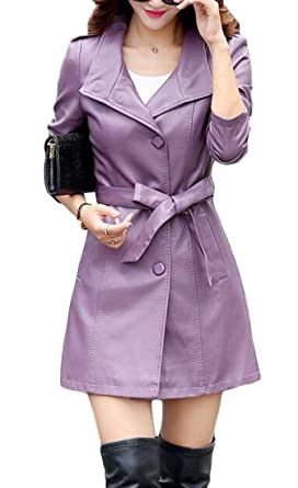 6410dfd85c5 Suncolor8 Womens Slim Fit Double Breasted Pu Leather Belted Trench ...