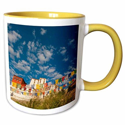 (3dRose Danita Delimont - Ellen Clark - Flags - Jammu and Kashmir, Ladakh, prayer flags at Thiksey Monastery - 15oz Two-Tone Yellow Mug (mug_188110_13))