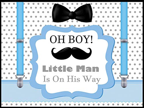 Little man Baby Shower Backdrop, Little men Banner, boy baby shower decorations, Mustache, Bow tie, Bowtie, Oh Boy Baby shower poster, Handmade party supplies, wall Posters, Sizes 36x24, 48x24, 48x36
