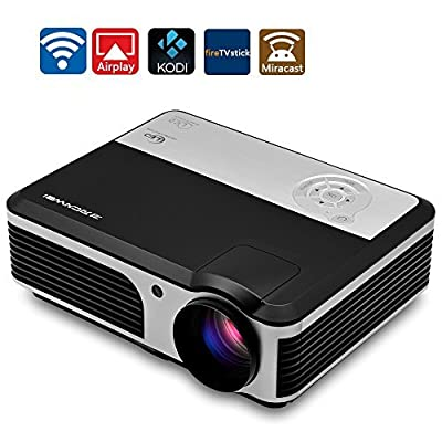 Portable HD WiFi Video Game Projector LED LCD Home Entertainment with Android 4.4 HDMI USB VGA YPbPr TV for iPhone iPad PC Wii for Movie Night PS4 Games Party KTV TV Show