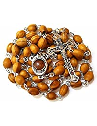 Catholic Prayer Rosary Olive Wood Beads Necklace Holy Soil Medal & Metal Cross by Bethlehem Gifts TM