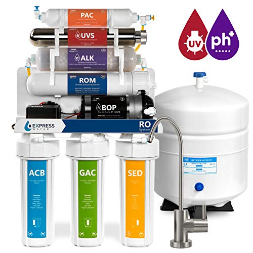 Alkaline Ultraviolet Reverse Osmosis Filtration System – 11 Stage RO UV Mineralizing Alkaline Purifier with Faucet and Tank – Mineral, Antioxidant, pH + – Pressure Booster Pump 100 GDP (Modern Faucet)