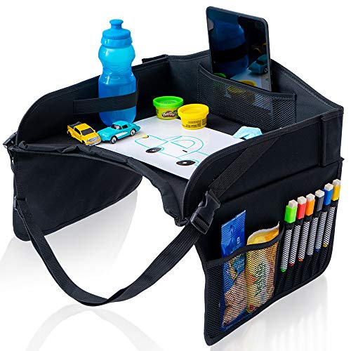 Car Seat Travel Tray for Kids; Perfect Toddler Lap Desk Toys Organizer; Strong and Sturdy Carseat Activities Table with Tablet and Cup Holder and Storage Accessories