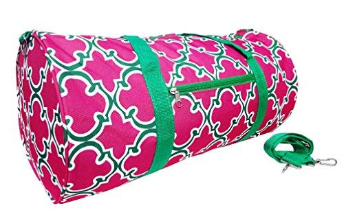 best-designer-large-pink-green-quatrefoil-soft-microfiber-weekender-duffle-gym-fun-top-unique-popula