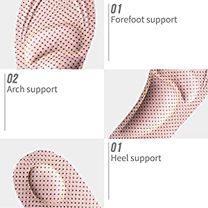 ELEFT 4D Barefoot Arch Support Insoles for Women - Best Insoles for Walking, High Heel Shoes, Boots, Athletic, Travel, Relieve Pantar Fasciitis (Pink Dot)