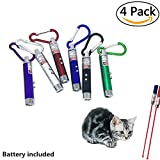 willway 4 Piece Laser Tease Cat Dog Toy, 2 in 1 Multi Function Flashlight and Red Light Pointer Funny Cat Chaser Toys Interactive LED Light,Scratching Training Tools Red Pot Exercise Chaser, Assorted Color (4 Packs)